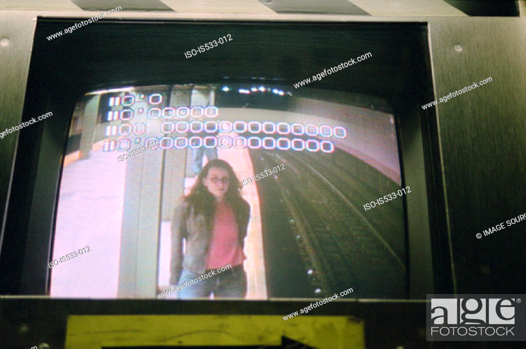 Stock Photo: View of woman from security camera.