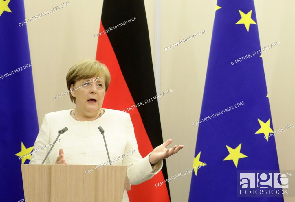 Imagen: 18 May 2018, Russia, Sochi: GermanChancellor Angela Merkel (CDU) speaking at a press conference after her meeting with Russian President Vladimir Putin.