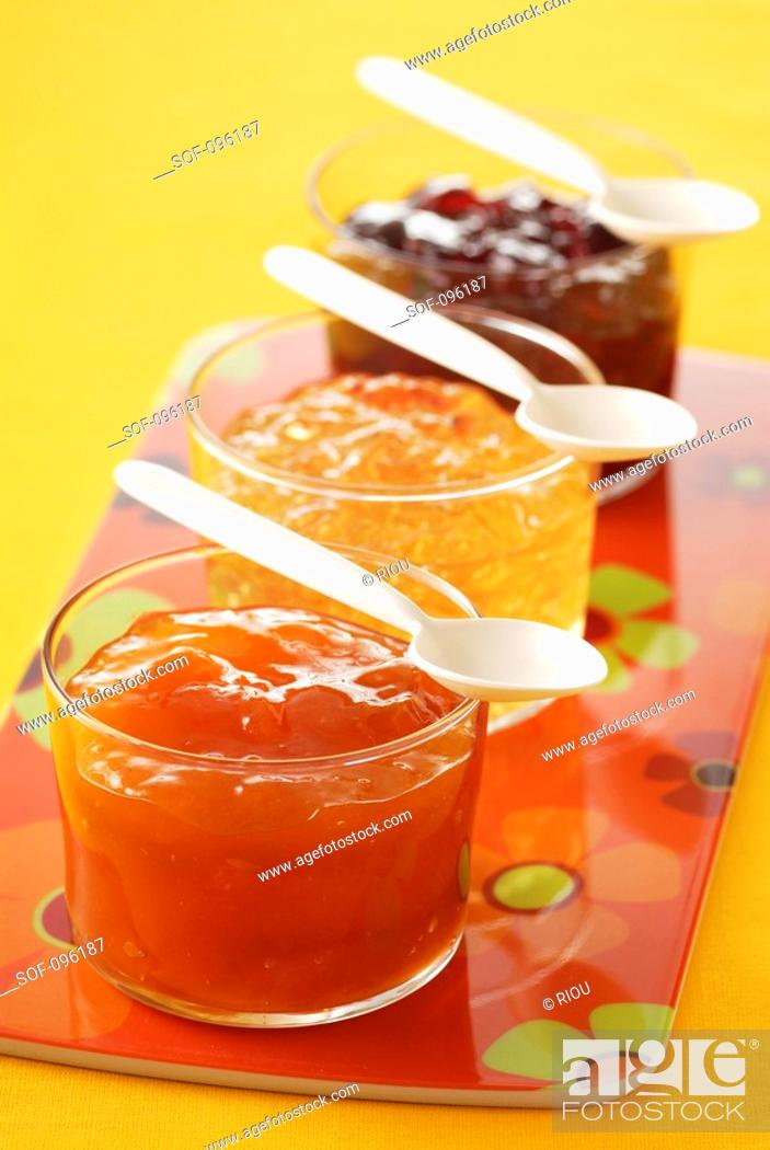 Stock Photo: Selection of jams.