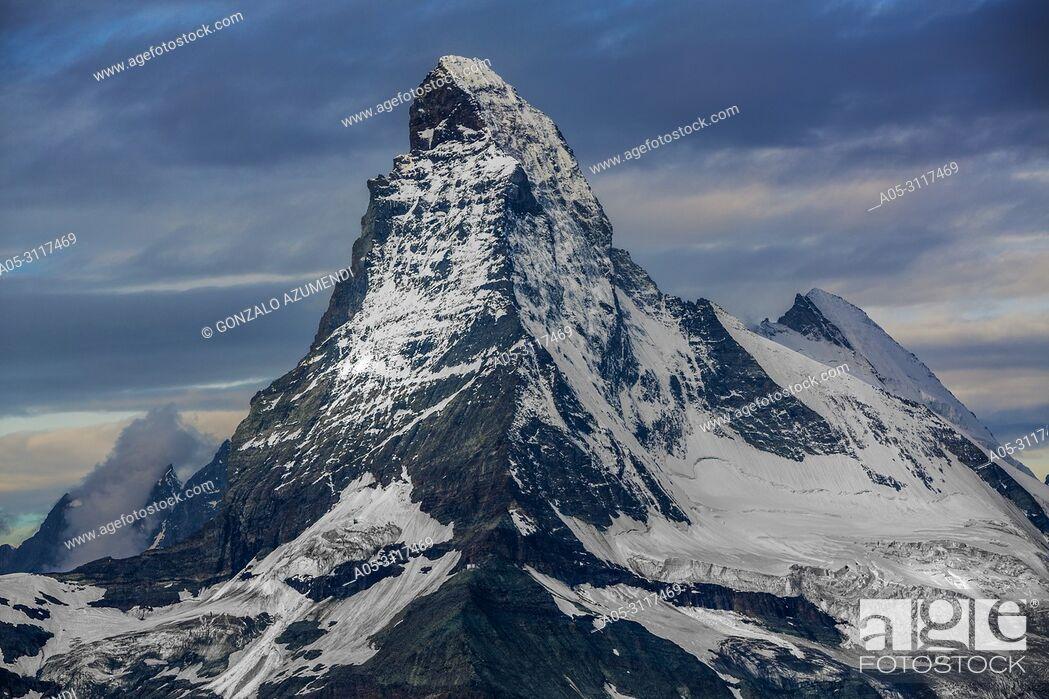 Stock Photo: Matterhorn mountain peak. Cervino mountain peak. Zermatt. Swiss Alps . Valais. Switzerland. Europe.