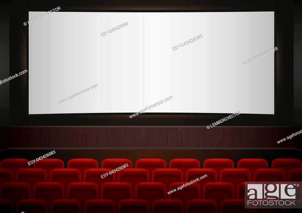 Interior Of A Cinema Movie Theatre Red Cinema Or Theater Seats In Front Of White Blank Screen Stock Vector Vector And Low Budget Royalty Free Image Pic Esy 043426083 Agefotostock