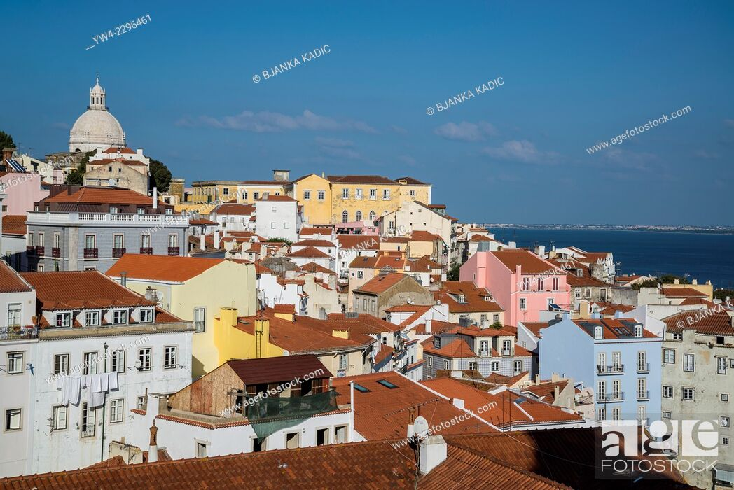 Stock Photo: View of the city from Largo das Portas do Sol, Alfama, Lisbon, Portugal.