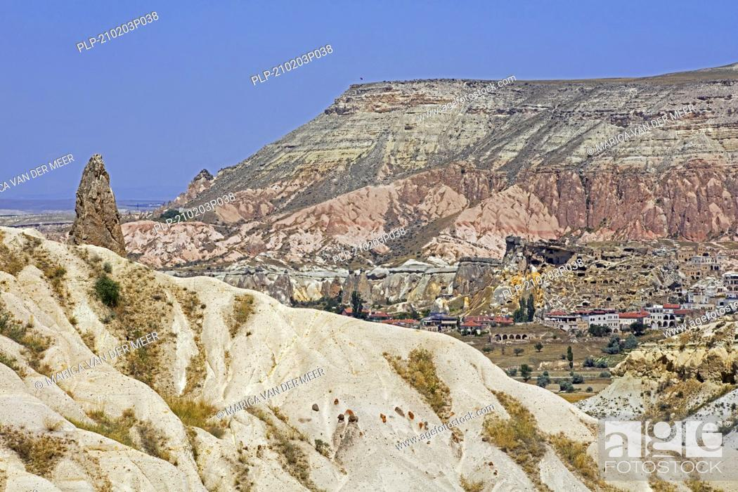 Stock Photo: The town / village Göreme among the fairy chimney rock formations in Cappadocia, Nevsehir Province in Central Anatolia, Turkey.