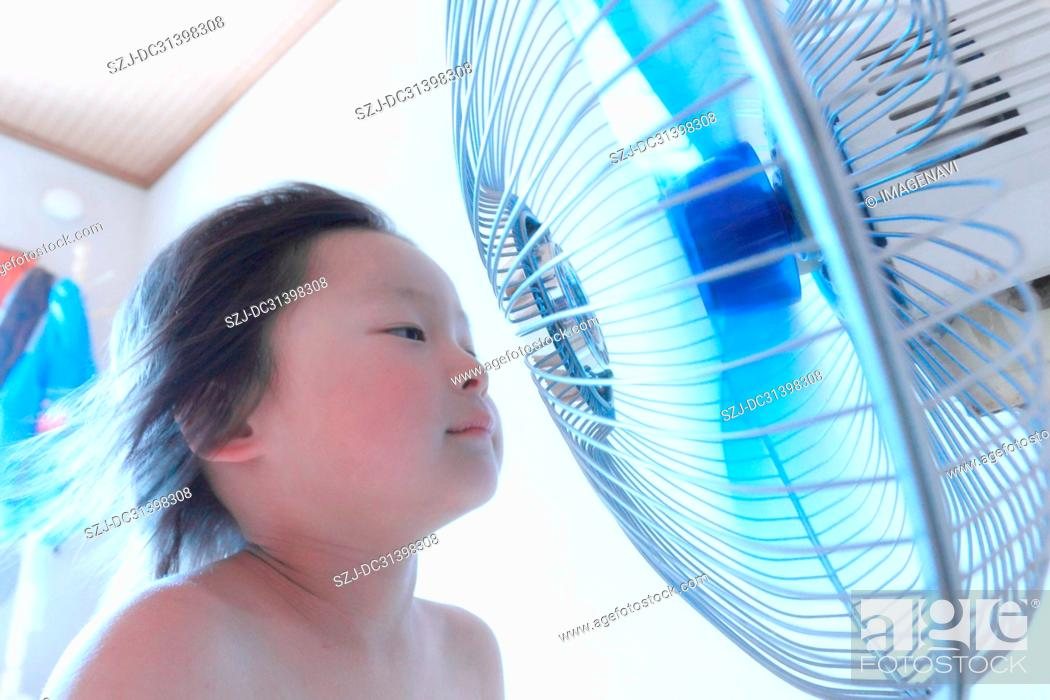 Stock Photo: Fan and children.