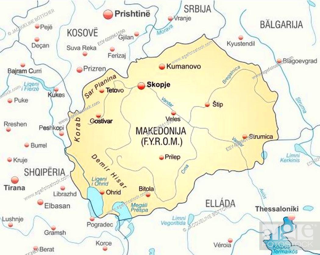 Mazedonien Karte.Karte Von Mazedonien Als übersichtskarte In Pastellorange Stock