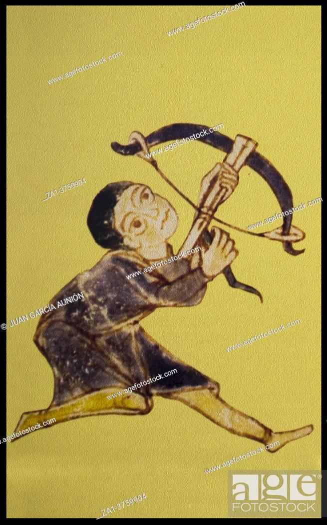 Stock Photo: Crossbowman. Infantry in the Middle Ages. Gerona Beatus at 10th-century, Museum of Girona Cathedral.