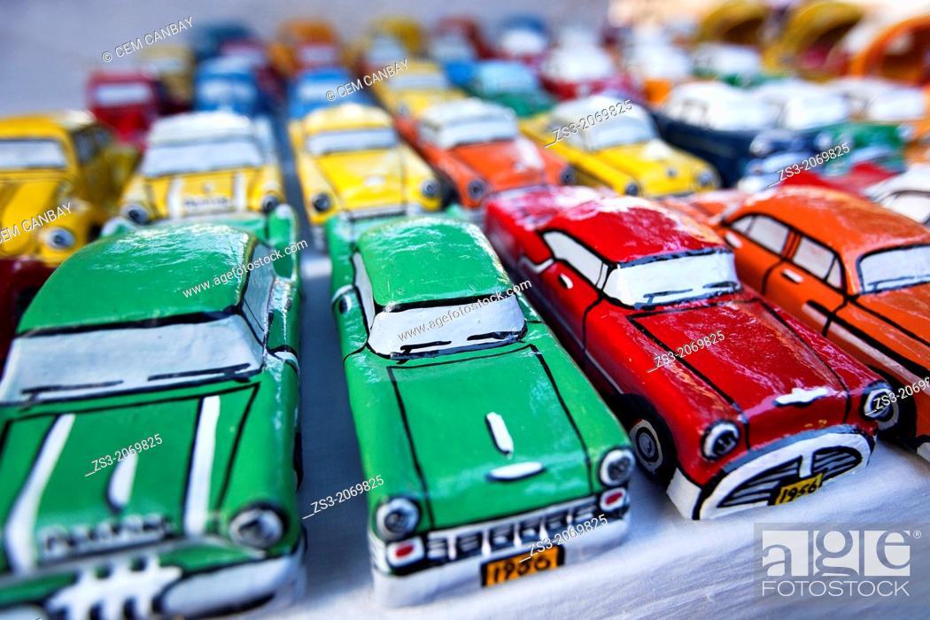 Stock Photo: Painted papier mache model cars on the open air market, Trinidad, Sancti Spíritus Province, Cuba, Central America.