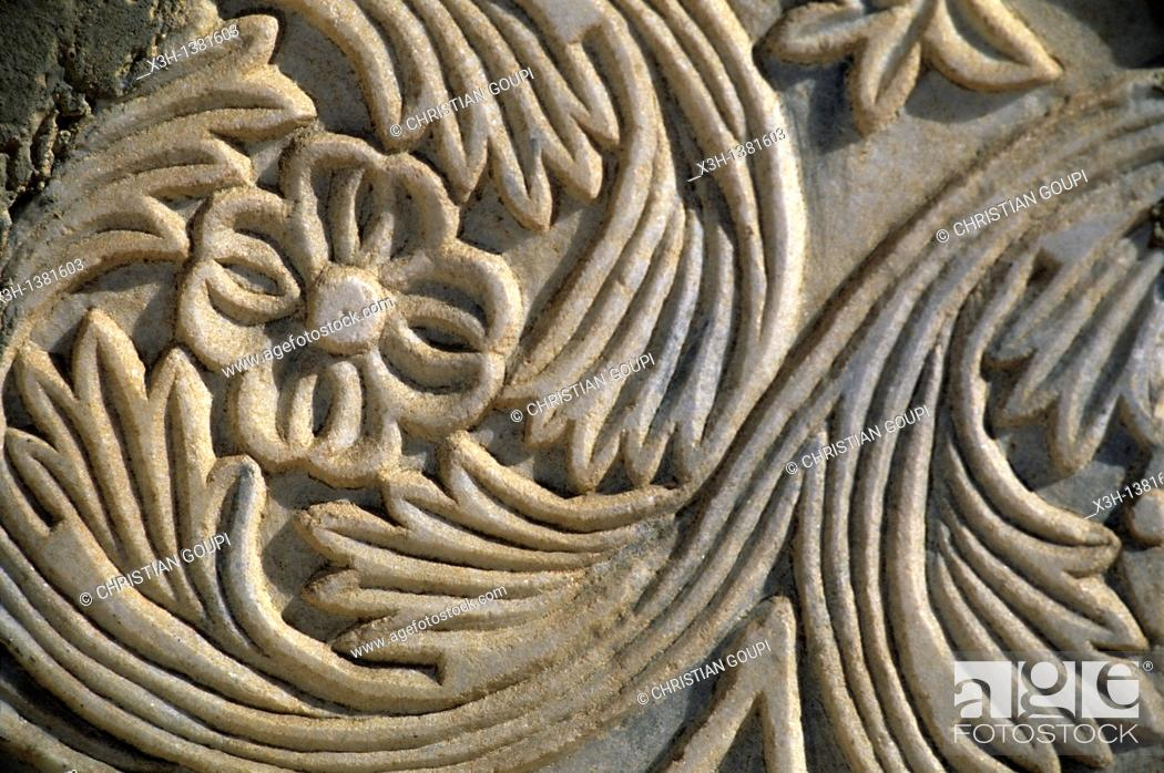 Stock Photo: Bysantine low relief, Avdat also known as Ovdat or Obodat was the most important historic city on the Incense Route after Petra between the 7th and the 1st.