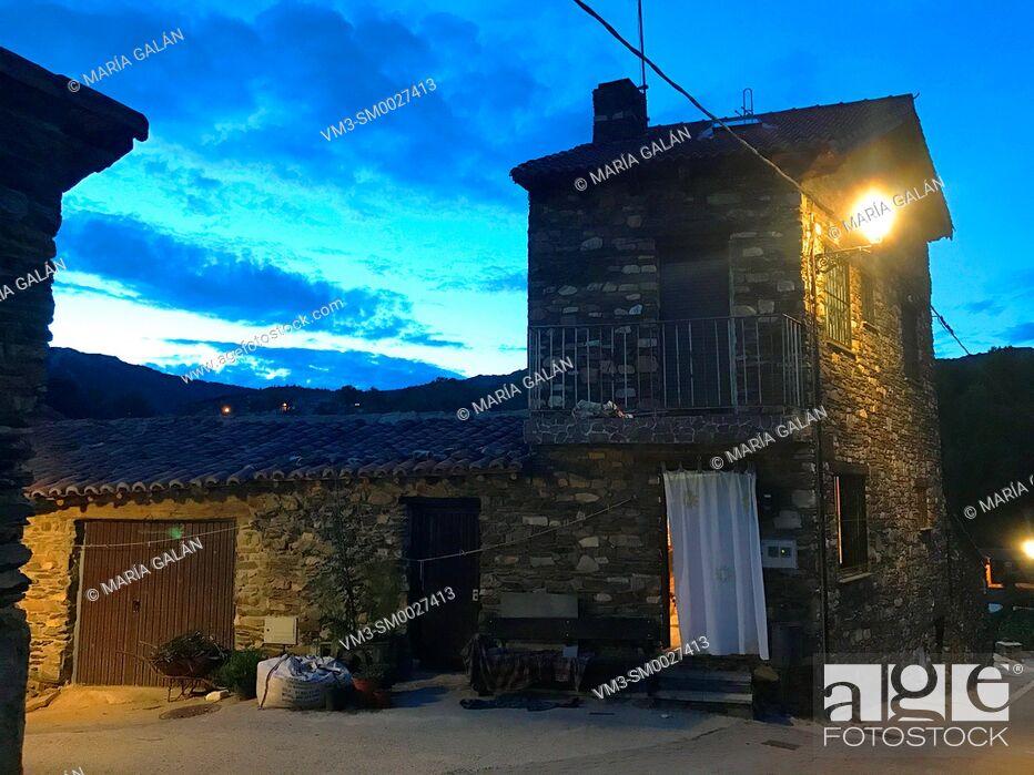 Stock Photo: House, night view. Puebla de la Sierra, Madrid province, Spain.