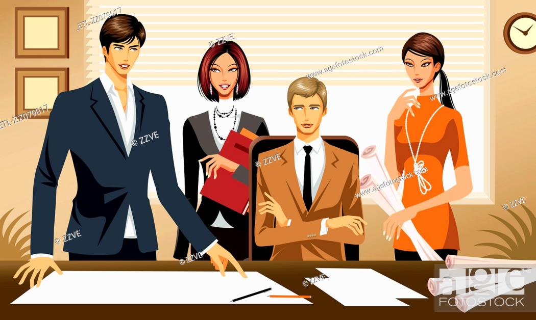 Stock Photo: Four business people working on Project.