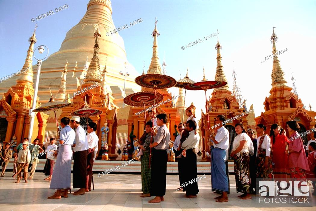 Stock Photo: Myanmar - Yangon - Shwedagon Pagoda - Ordination Ceremony.