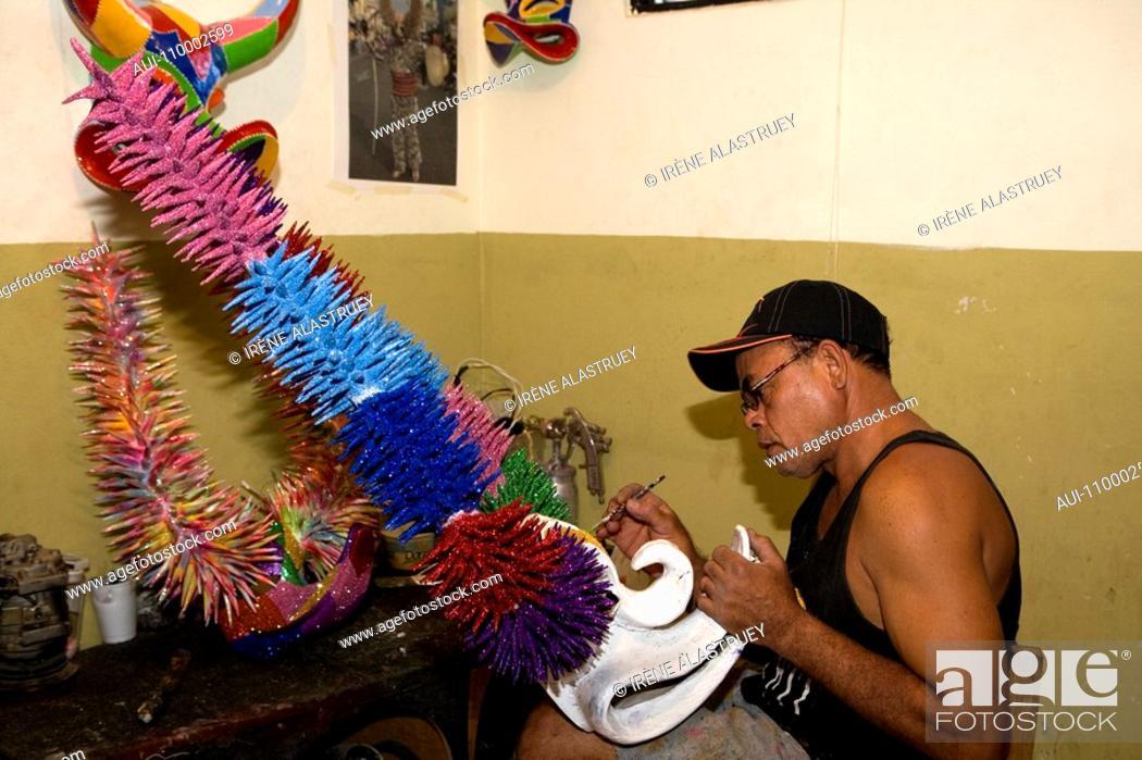 Stock Photo: Dominican Republic - Santiago - Crafts - Artisan Caretero - Manufacturing carnival mask.