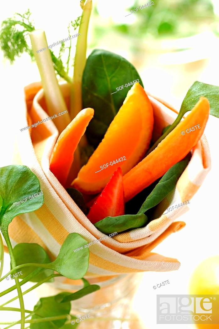 Stock Photo: fruit and vegetables for dipping.