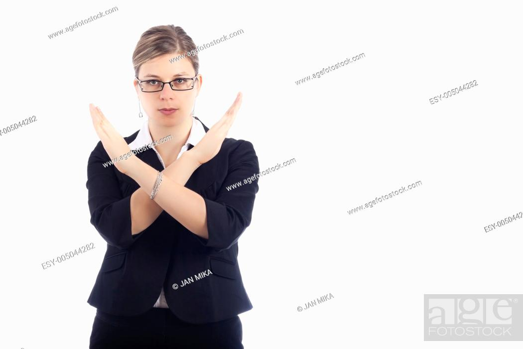 Stock Photo: Young woman gesturing with hands stop, isolated on white background.