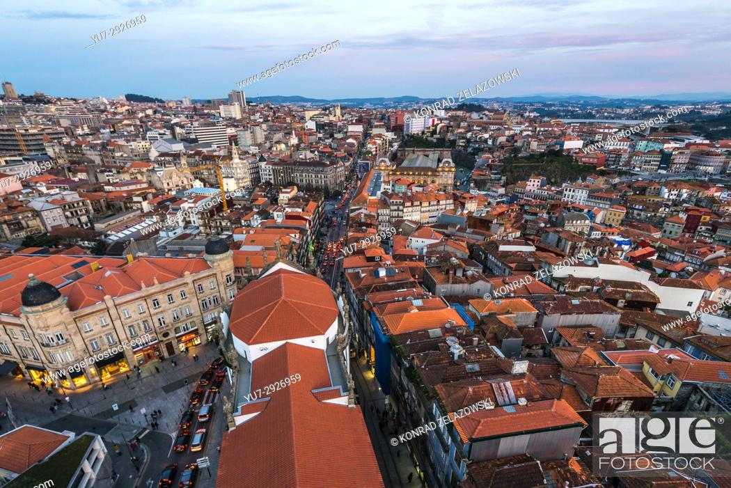 Stock Photo: Aerial view with Old Town buildings from bell tower of Clerigos Church in Porto, second largest city in Portugal.