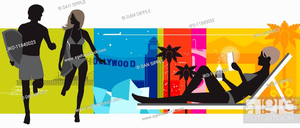 Imagen: Colorful montage of couple with surfboards, woman in lounge chair and Hollywood sign.