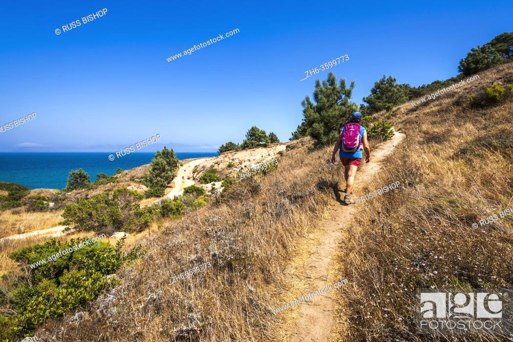 Stock Photo: Hiker on the Torrey Pines Trail, Santa Rosa Island, Channel Islands National Park, California USA.