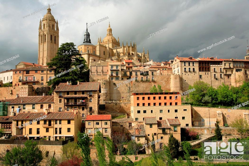 Stock Photo: Cathedral, skyline, Segovia, Castilla-Leon, Spain.