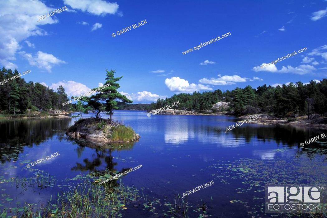 Stock Photo: Small Island, Whitefish Falls, North of Manitoulin Island, Georgian Bay, Lake Huron, Ontario, Canada.