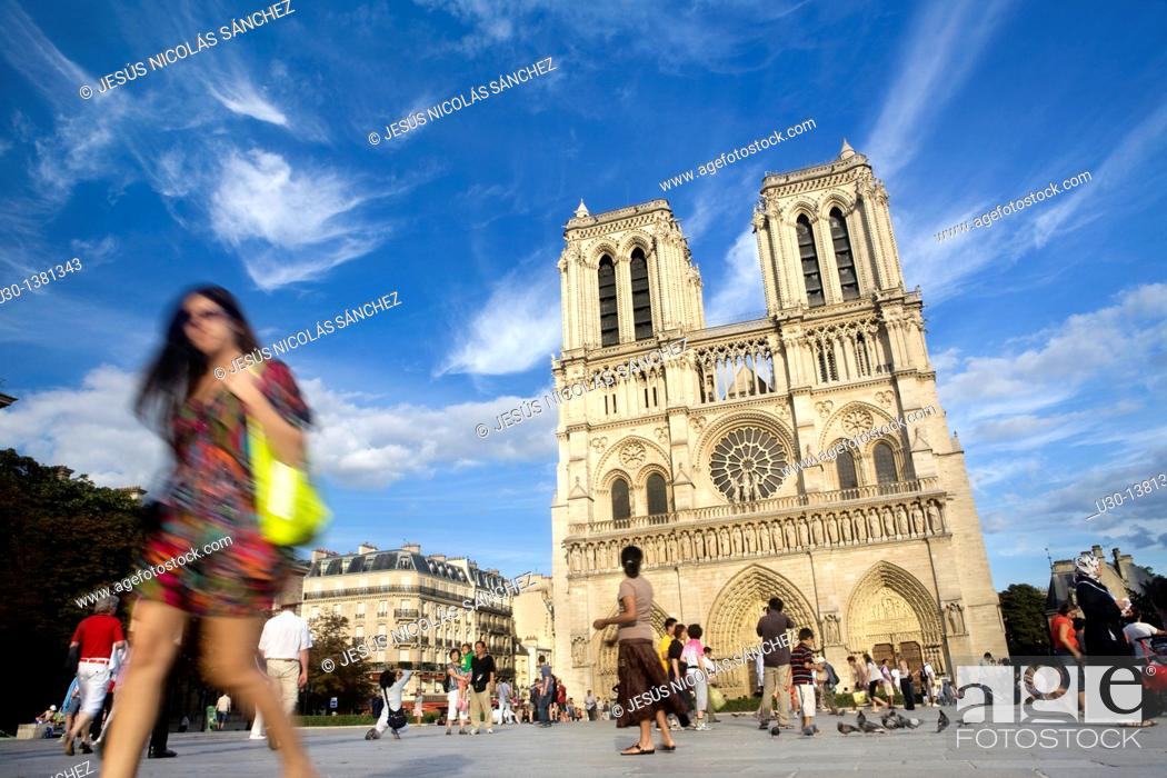 Stock Photo: Overview of Notre Dame Cathedral  Paris  Fracne.