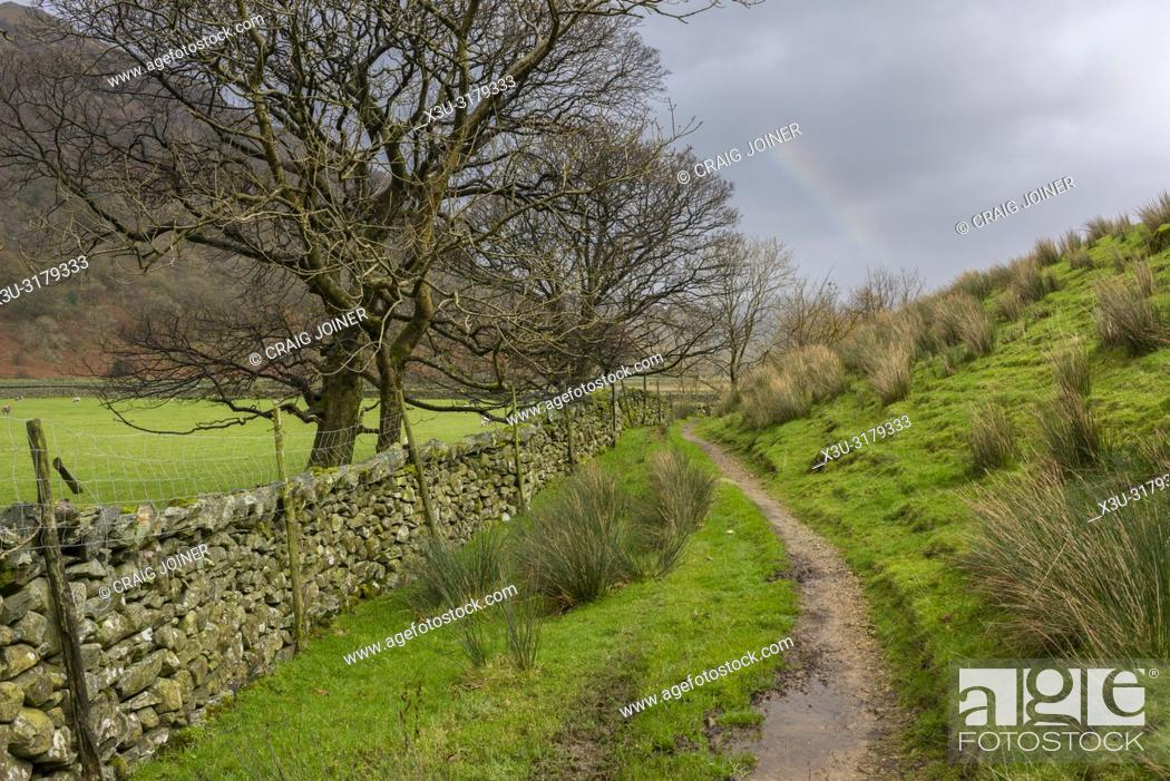 Stock Photo: The Borrowdale valley near Seathwaite in the Lake District National Park, Cumbria, England.
