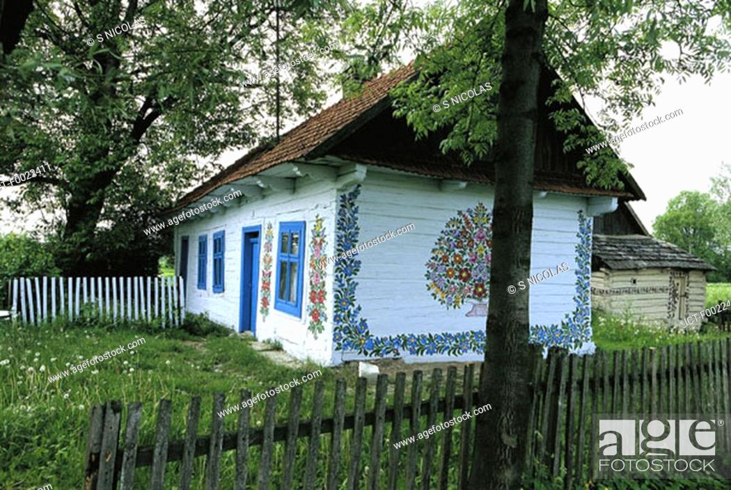 Stock Photo: Poland, Zalipie, housepainted.