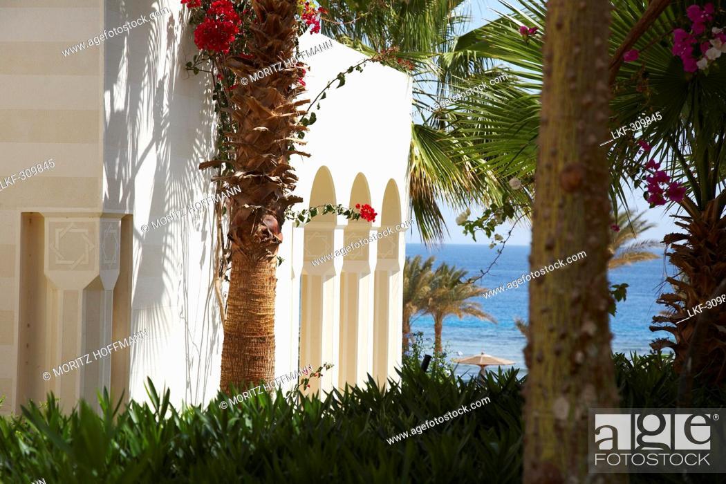 Stock Photo: Garden of the Oberoi Sahl Hasheesh Hotel, Egypt.