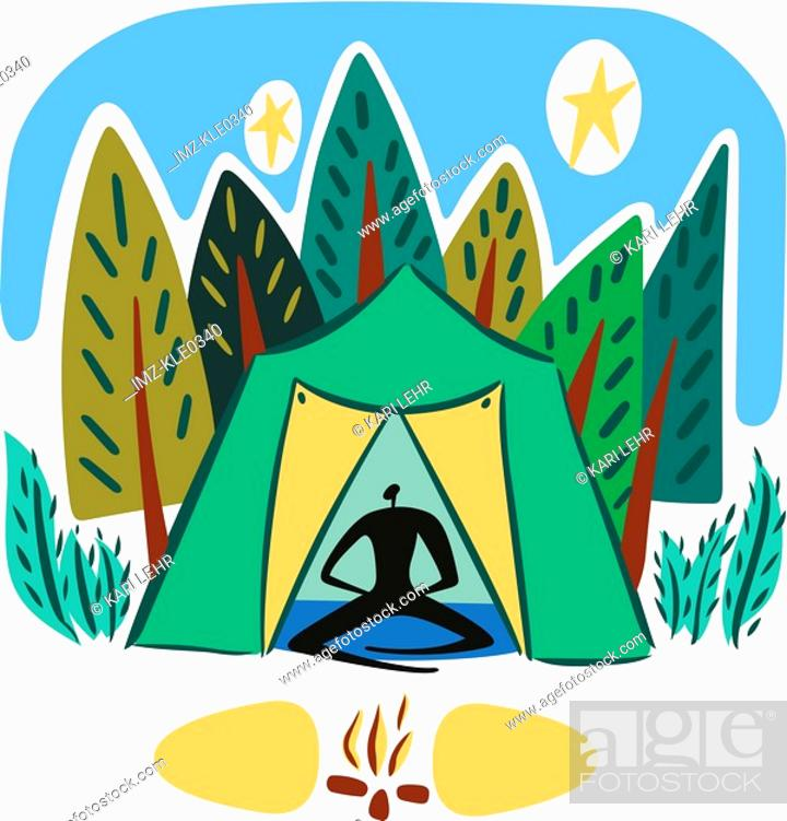 Stock Photo: A man sitting in a tent next to a campfire in the forest.