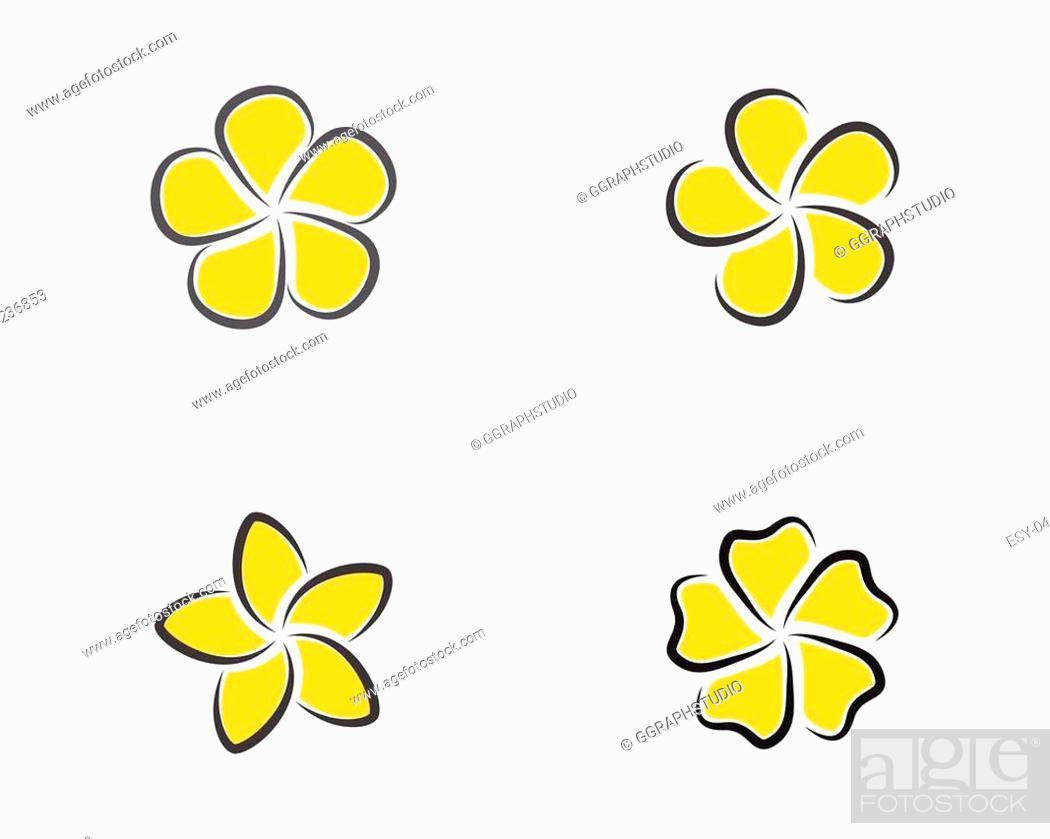 Stock Vector: Beauty plumeria icon flowers design illustration Template.