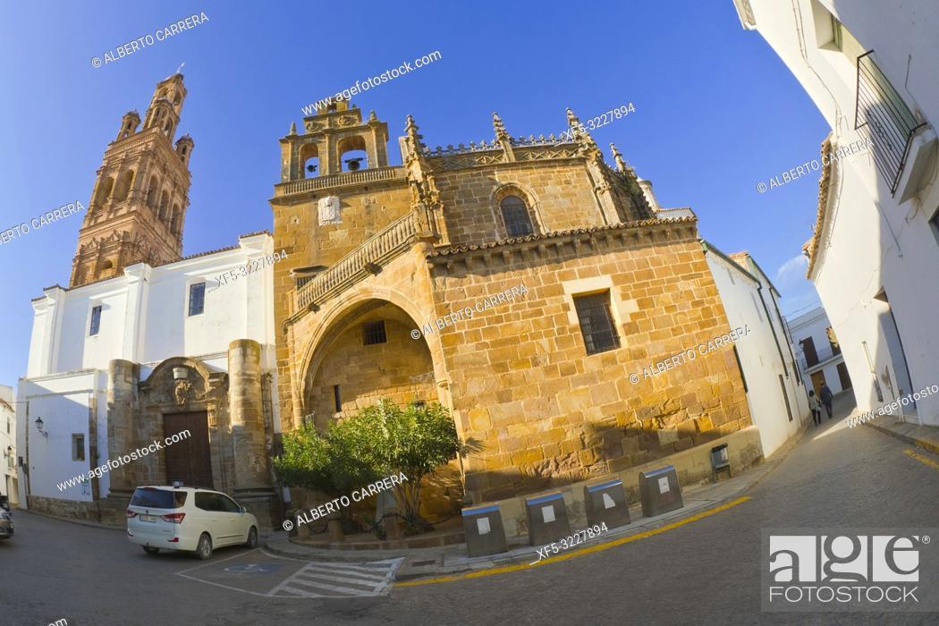 Stock Photo: Church of Nuestra Señora de la Granada, Plaza Mayor, Historical Center, Historic Artistic Ensemble, Llerena, Badajoz, Extremadura, Spain, Europe.