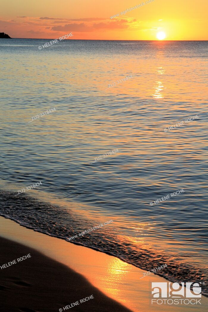 Stock Photo: Grande anse beach at sunset, Deshaies, Guadeloupe, Basse-Terre, Caribbean islands, France.