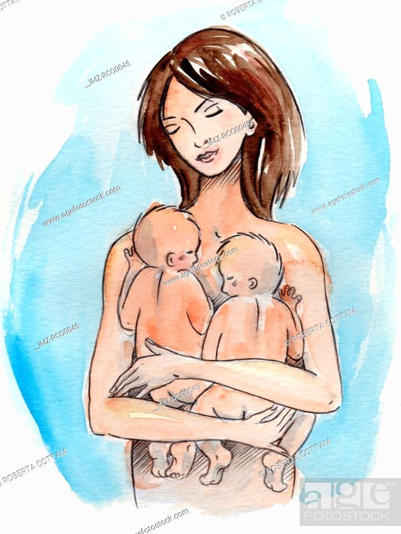 Stock Photo: A woman holding her infant twins.