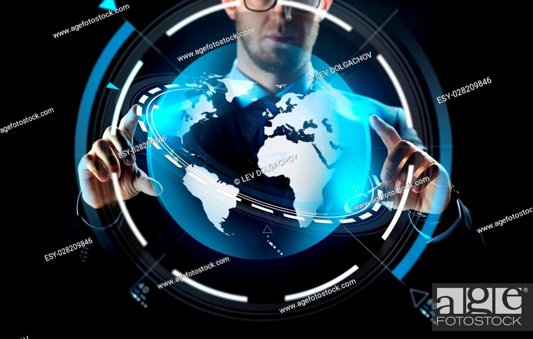 Stock Photo: business, people, technology and cyberspace concept - close up of businessman in suit working with earth projection over black background.