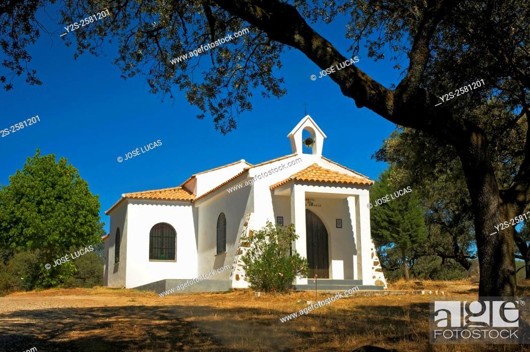 Stock Photo: Sierra de Aracena Natural Park, Hermitage of Santa Eulalia, Santa Olalla del Cala, Huelva province, Region of Andalusia, Spain, Europe.