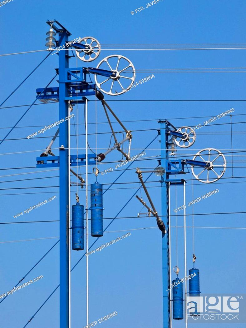 Stock Photo: Electrified catenary provinding power for high-speed train, Spain.