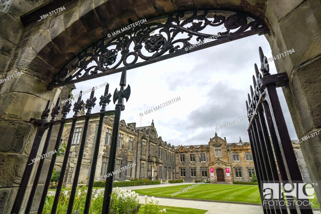 Stock Photo: View of St Salvator's Quad ( Quadrangle) at St Andrews University, Fife, Scotland, UK.