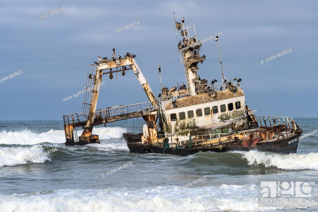 Stock Photo: Shipwreck. Skeleton Coast National Park. Namibia. Africa.