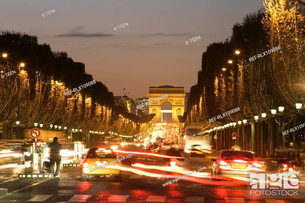 Stock Photo: Champs-Elysees and Arc de Triomphe at night, Paris, France.