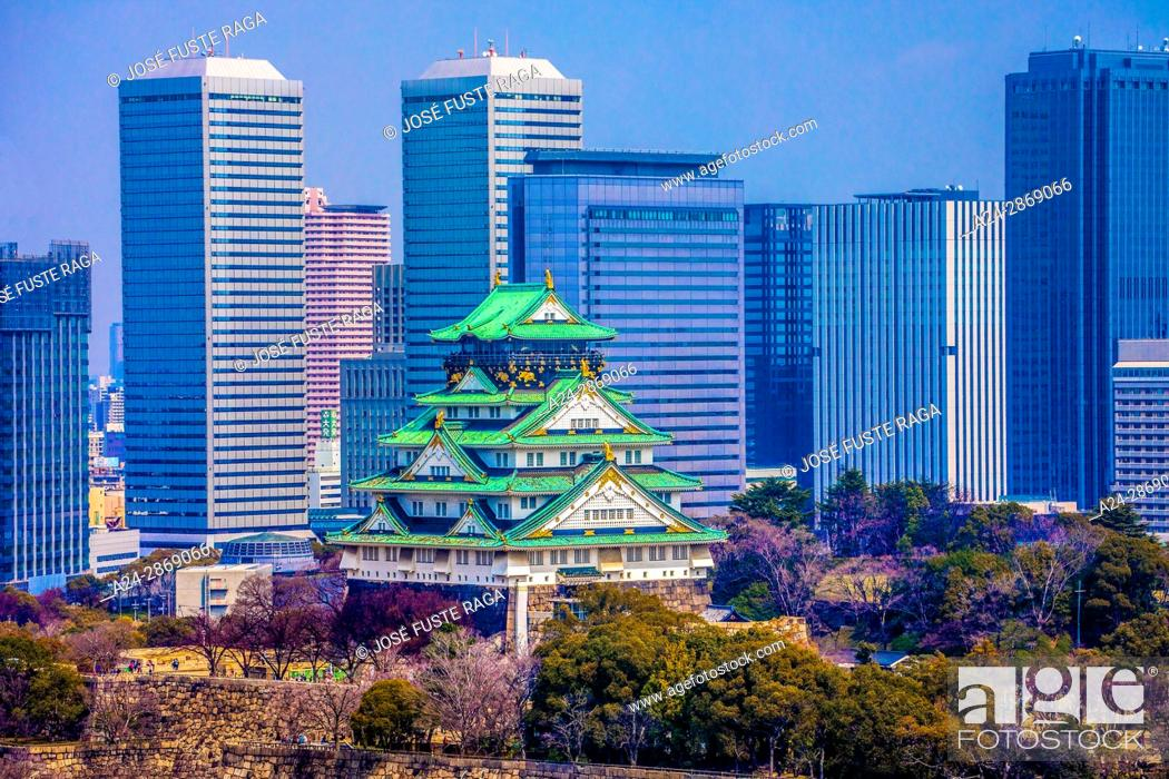 Stock Photo: Japan,Kansai, Osaka City, Osaka Castle.