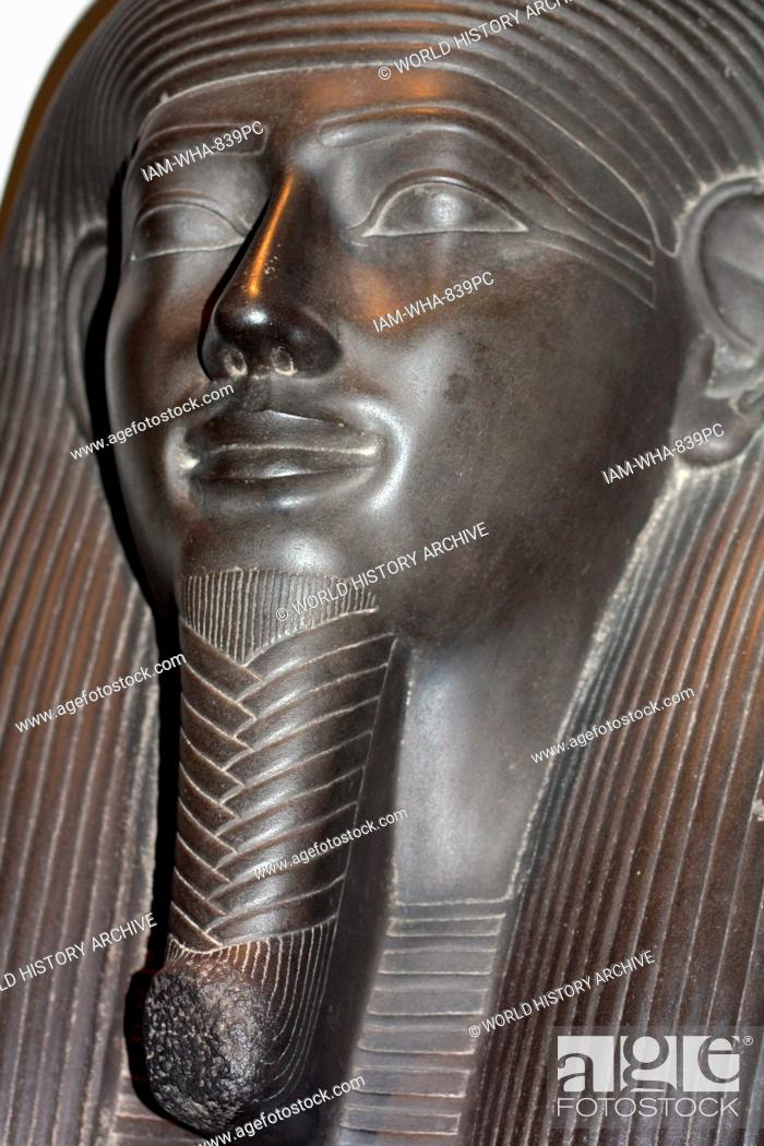 Stock Photo: Detail from Sarcophagus-lid of the Vizier Sisebek. 26th Dynasty (approx. 600BC) Egyptian. Made of schist. A figure of the goddess Nut adorns the chest.