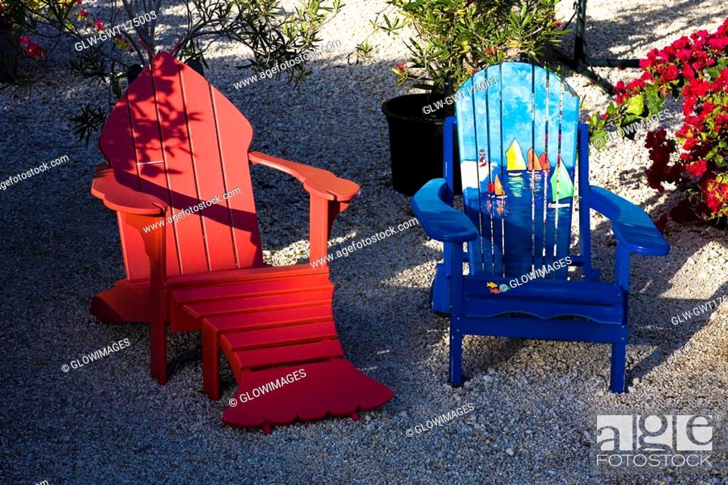 Stock Photo: High angle view of adirondack chairs, Florida Keys, Florida, USA.