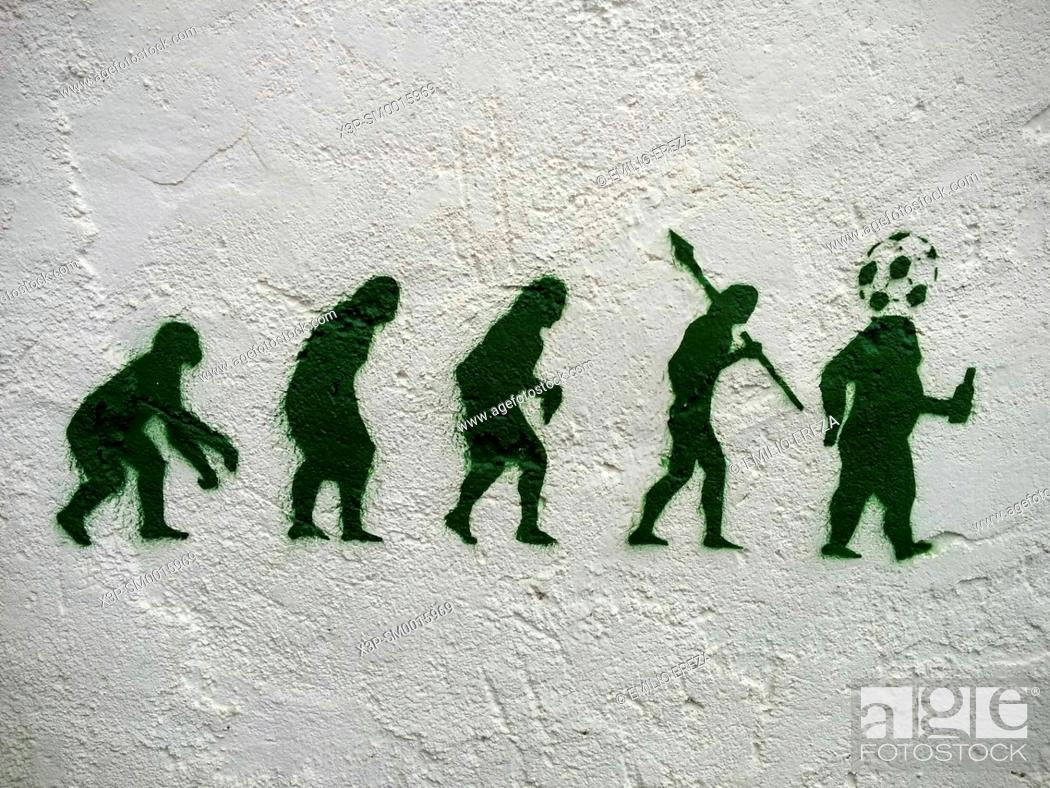 Stock Photo: Graffiti in a wall. Near Lleida, Catalonia, Spain.