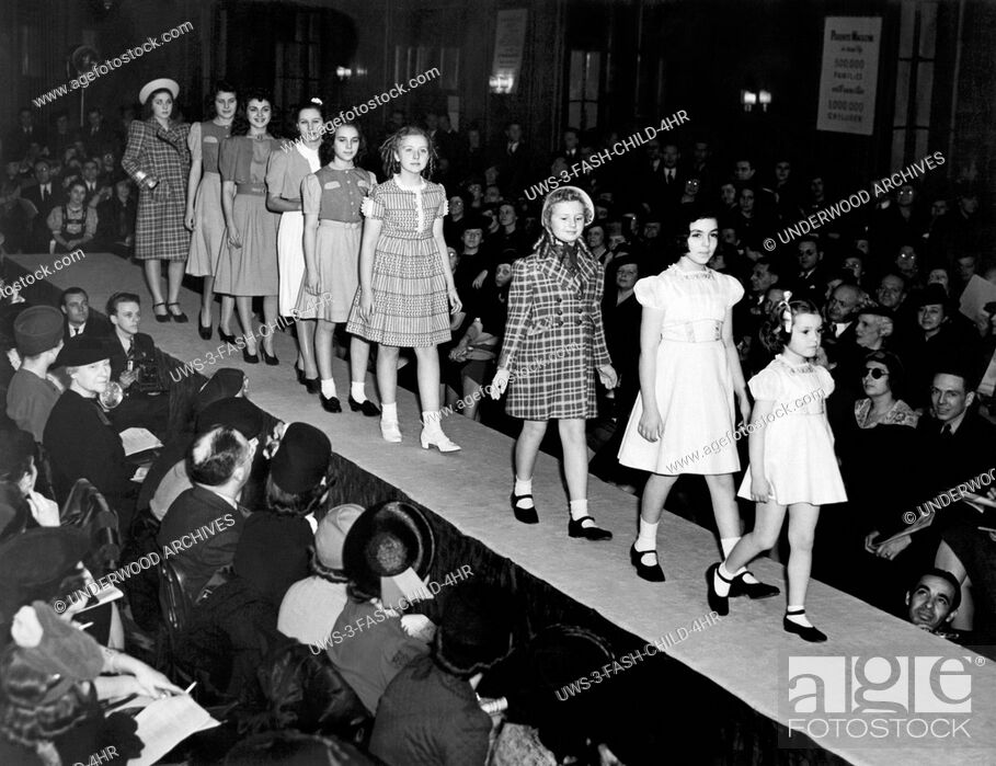 Stock Photo: New York, New York: January 17, 1939 Young models wearing the latest in spring styles at the children's fashion show at the Hotel Pennsylvania.