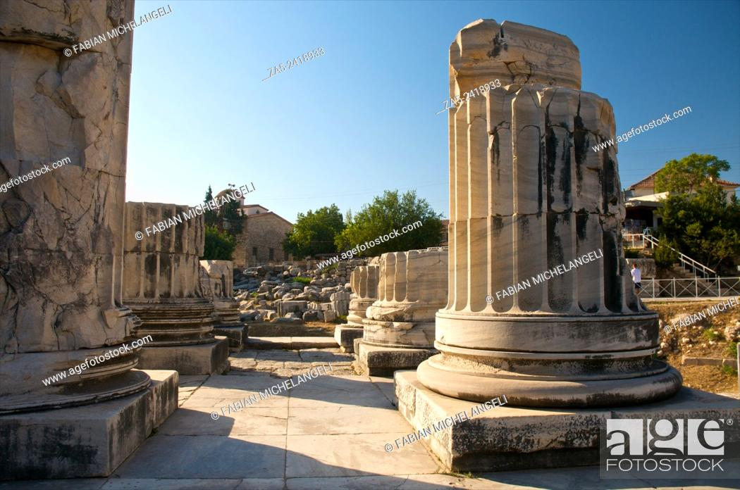 Stock Photo: Double row of columns in the Pronaos. The Apollo Temple of Didyma (Didymaion) 10th C. BC-4th C. BC, destroyed by Darius I of Persia in 494 BC and reconstructed.