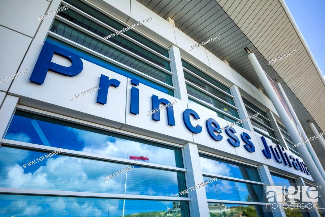 Stock Photo: Netherlands, Sint Maarten, Maho Bay, Princess Juliana Airport Terminal, exterior.