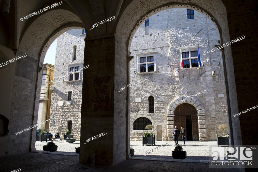 Stock Photo: town hall seen from the arches, narni, near terni, umbria, italy.