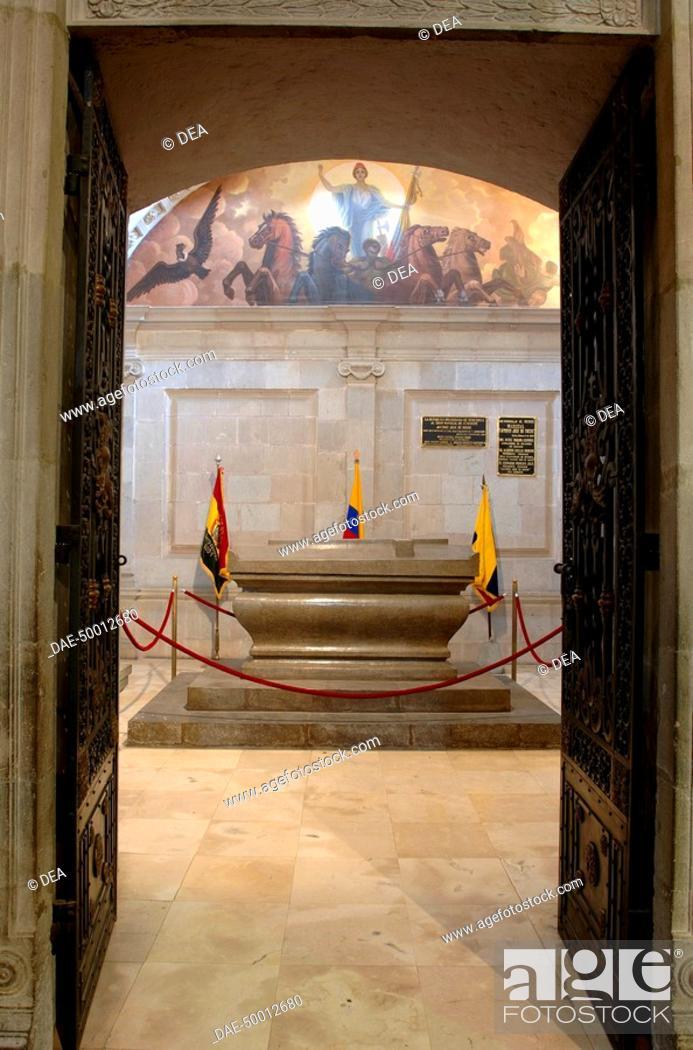 Stock Photo: Ecuador - Pichincha Province - Quito. UNESCO World Heritage List, 1978. Interior of the Cathedral. The tomb of Venezuelan Grand Marshal Antonio José de Sucre.