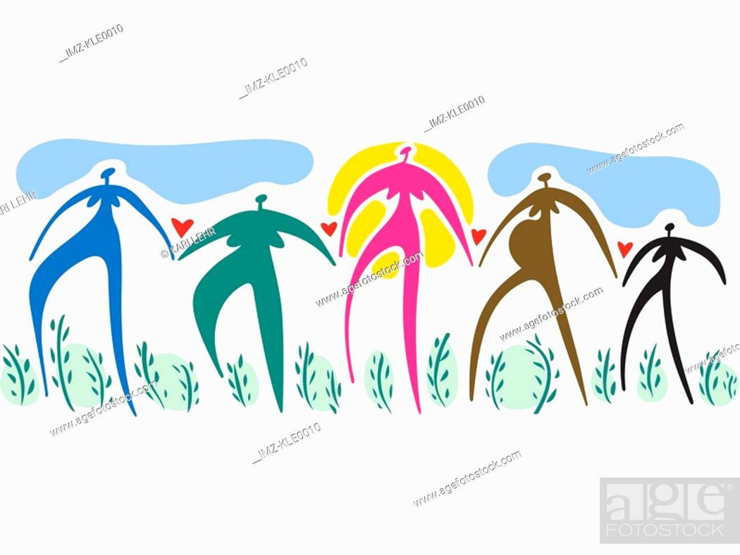 Stock Photo: Women of different colors,shapes and sizes holding hands.