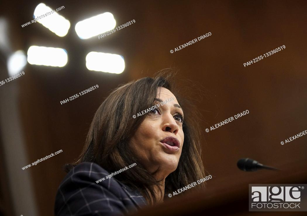 Stock Photo: United States Senator Kamala Harris (Democrat of California) speaks during a US Senate Homeland Security and Governmental Affairs Committee oversight hearing.