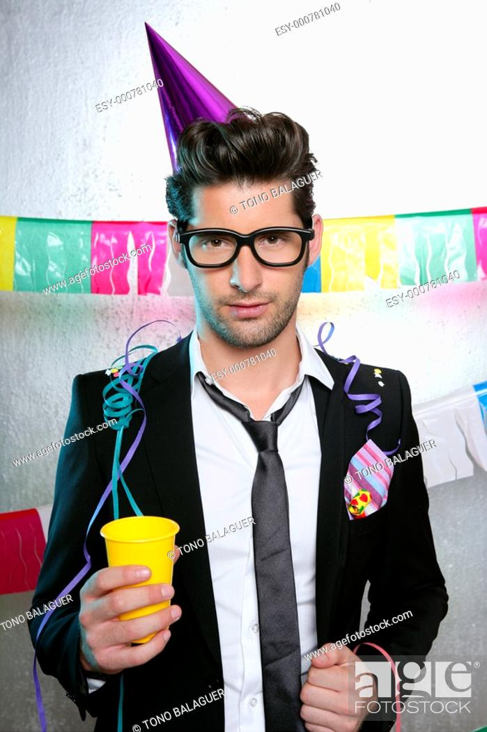 Photo de stock: Holiday party young man funny glasses suit open handkerchief.